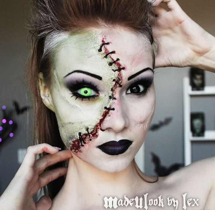 ditch the uncomfortable mask this year and really scare people with the creepiest halloween makeup ideas - Scary Faces For Halloween With Makeup