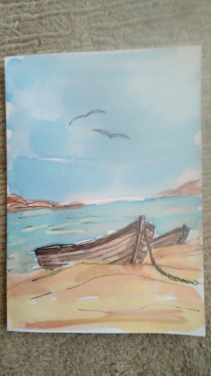 "Hand painted water color card ""Sea Shore"""