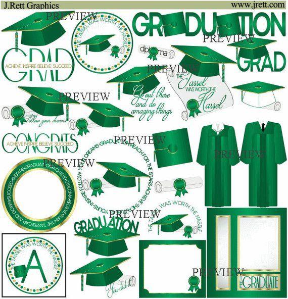 Green Gold Graduation Clipart More Colors Tassel Clip Art Cap
