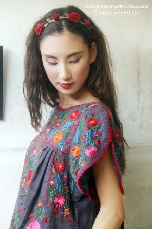 batik amarillis's frida  Mexican embroidery blouse with handstiched lacing