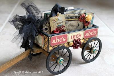 Wooden Wagon with Graphic 45 ABC Primer mini album
