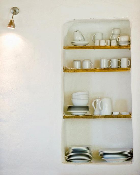 recessed shelving in kitchen... hmm...