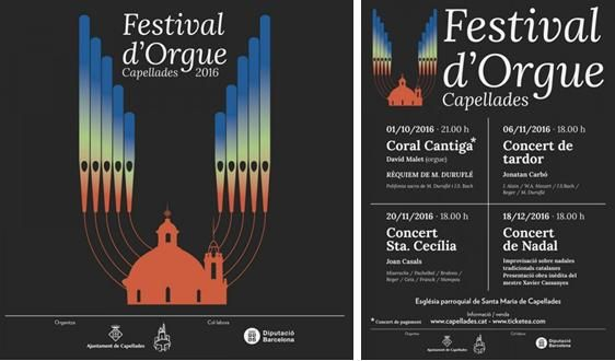 Festival d'orgue de Capellades. Església de Santa Maria. 1 d'octubre, 6 i 20 de novembre i 18 de desembre 2016