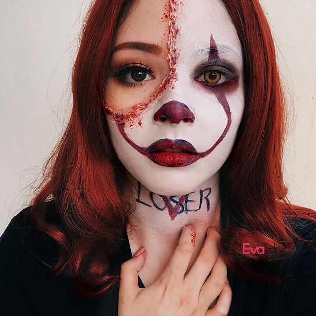 Pennywise Patricia Echeverria pour son maquillage Halloween 2017 !!! Les cheveux…