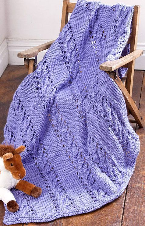Free Knitting Pattern For Baby Blanket In Chunky Wool : Free Knitting Pattern Cables and Lace Baby Blanket ...