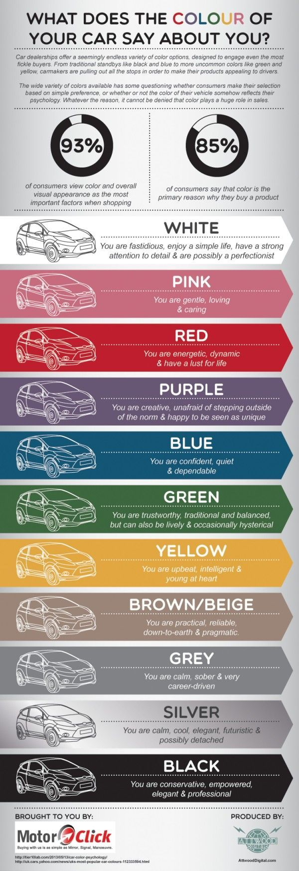 What Does the Colour of Your Car Say About You? Infographic | Best Infographics Design