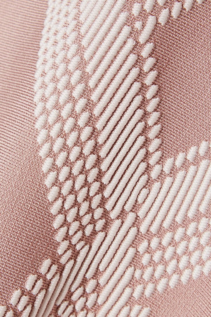 Blush and white stretch jacquard-knit Concealed hook and zip fastening at back 86% rayon, 13% nylon, 1% spandex Dry clean Imported