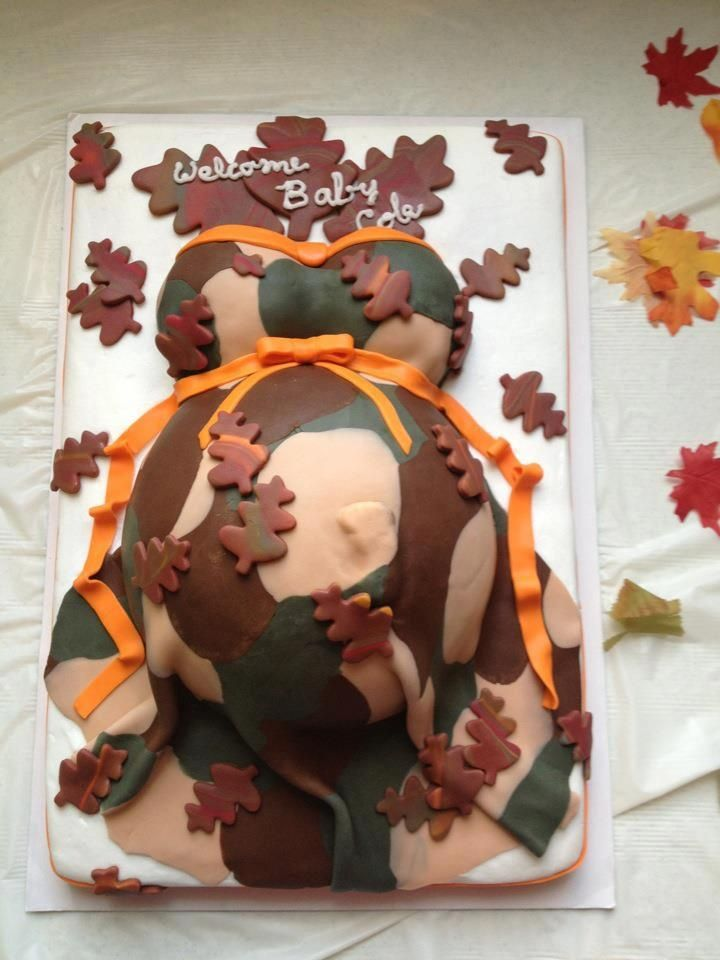 Orange And Camouflage Baby Bump Baby Shower Cake With Footprint