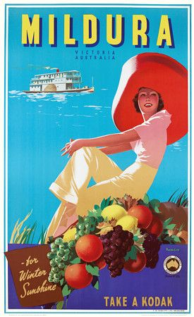 Vintage James Northfield Mildura Victoria Australian Travel Posters Prints - c, 1930's