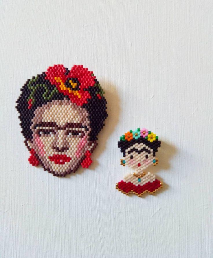 Une petite pause dans les princesses... J'ai tissé la magnifique Frida Coquelicot de @t_a_t_s_i et ma mienne aussi! Autant vous dire que ce n'est pas le même temps de tissage... #jenfiledesperlesetjassume #miyukibeads #miyuki #perleaddict #frida #fridakahlo #brickstitch #motifpauline_eline #perlesmiyuki #jesuisunesquaw