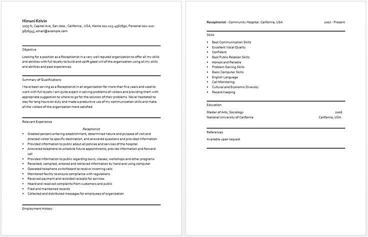 Receptionist Resume resume sample Pinterest Receptionist - database architect sample resume