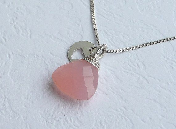 Rose Pink Chalcedony Necklace,Sterling Silver Necklace, Delicate Necklace, Wire Wrapped Necklace