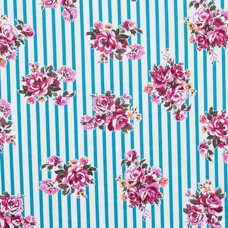 Harbor Blue, Carmine Rose and White Floral Striped Stretch Cotton Twill Fabric by the Yard | Mood Fabrics