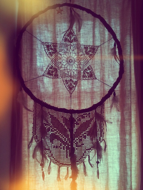 "dreamcatchers- used as a charm to protect sleeping people from nightmares.   Can change a person's dreams. ""Only good dreams would be allowed to filter through… Bad dreams would stay in the net, disappearing with the light of day."" Good dreams would pass through and slide down the feathers to the sleeper."