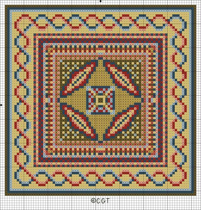 Free Byzantine Tile Patterns - Byzantine Trio - Free Printable Charts: Free Byzantine Tile One Color Symbol Chart - Free Byzantine Tile Printable Chart
