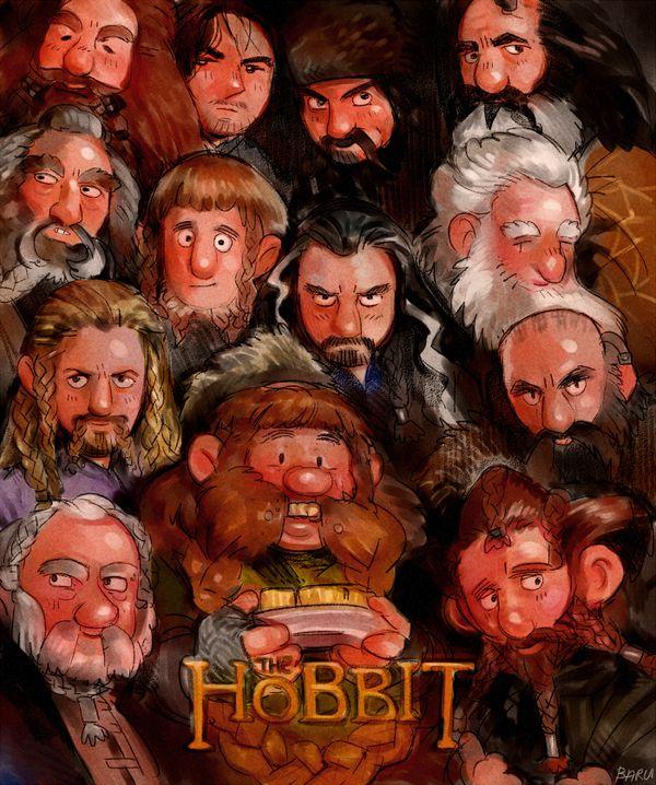 Dwarves...  Thorin, Balin, Dwalin, Fili, Kili, Bombur, Bofur, Bifur, Dori, Oir, Nori, Oin and Gloin