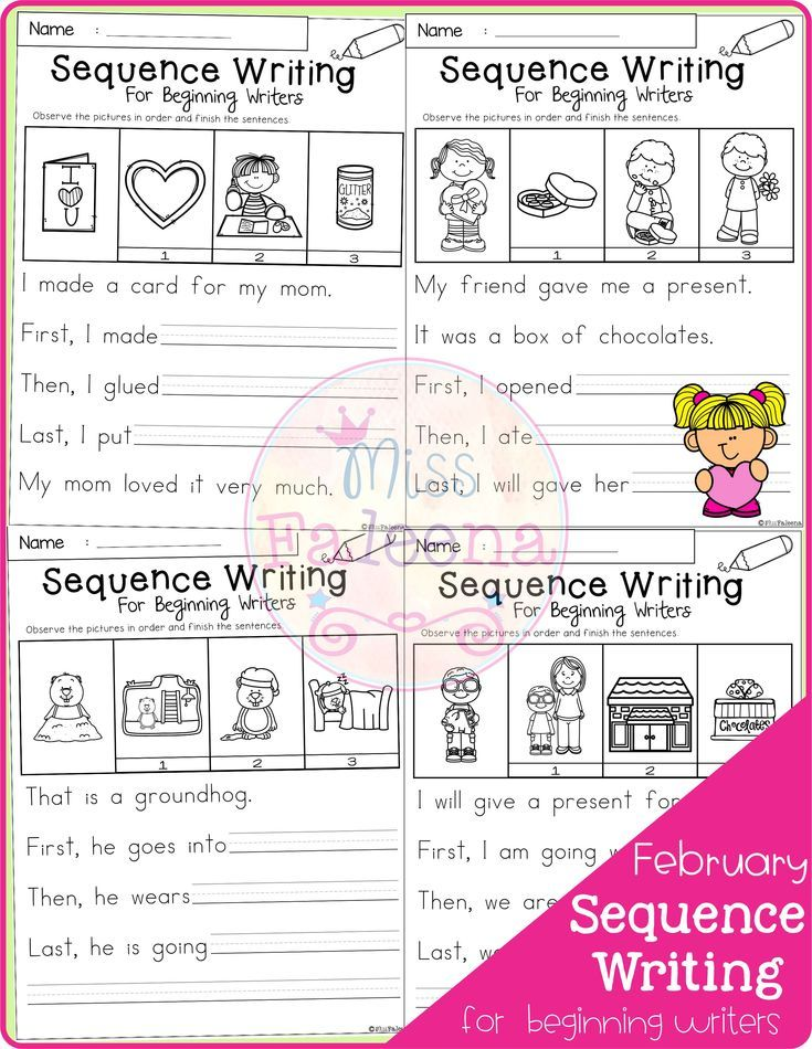February Sequence Writing For Beginning Writers Di 2020 Sequencing words worksheets pdf