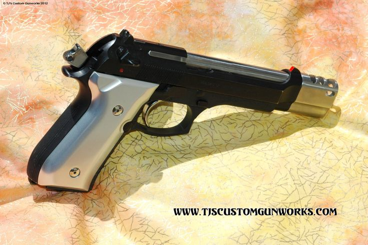 """TJ Custom Compensated Beretta 92FS PS With a Satin Polished Stainless 5-Port  """"TJ BERETTA TRI-MAG COMPENSATOR"""""""
