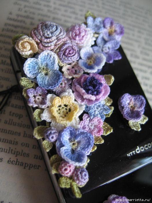 Украшение и декор предметов цветочками крючком (6) (525x700, 275Kb)