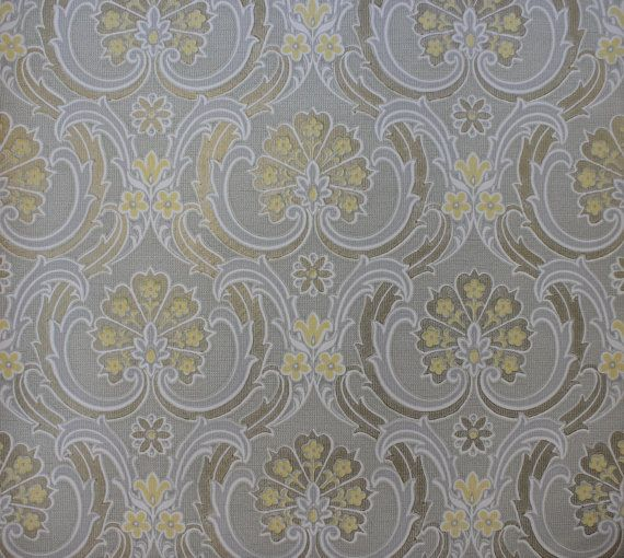 Vintage Wallpaper 1960's Yellow Gold and Gray by RosiesWallpaper