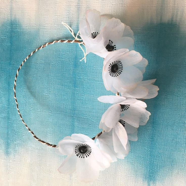 White anemone paper flowers - simple light wedding crown ♥ https://www.etsy.com/listing/533620005/white-anemone-floral-crown-white-paper?ref=shop_home_active_1
