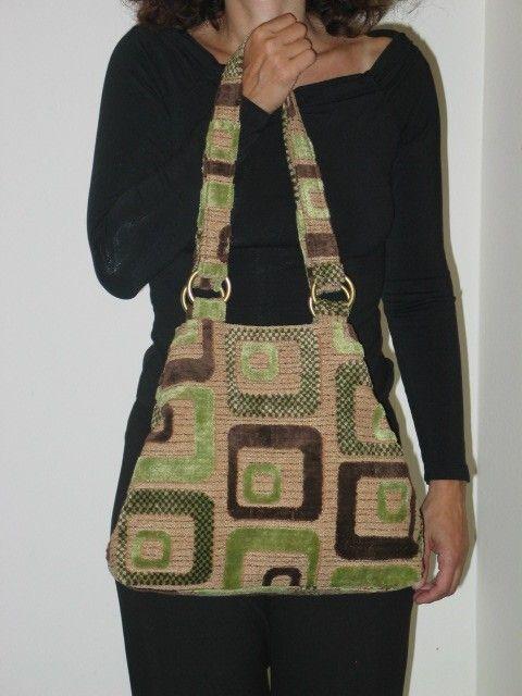 grey tote bag floral purse fabric handbag shoulder by daphnenen