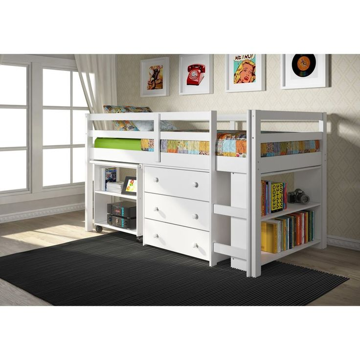 House Decoration Kids Low Study Loft Desk Twin Bed with Chest and Bookcase New #Donco