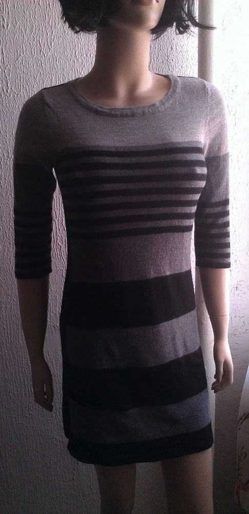 44e1f270fb1 Cynthia Rowley 100% Extrafine Merino Wool Stripe Sweater Dress L   CynthiaRowley  Sweaterdress