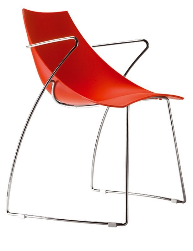 Fauteuil design rouge Hoop lot de 4 Parri