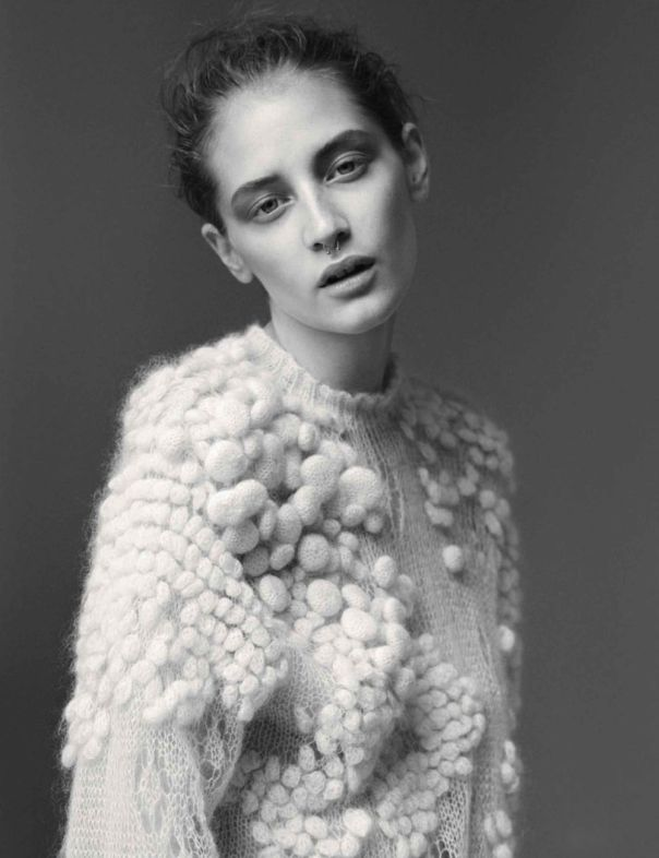 Contemporary knitwear design with bubble knit textures resembling organic form; textiles for fashion // Vogue Germany editorial