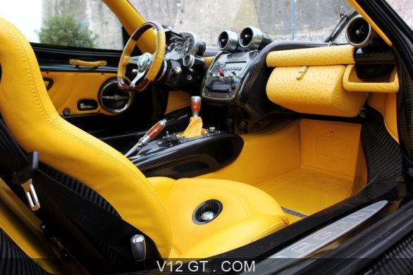 Pagani Zonda F Roadster v12 yellow and black interior