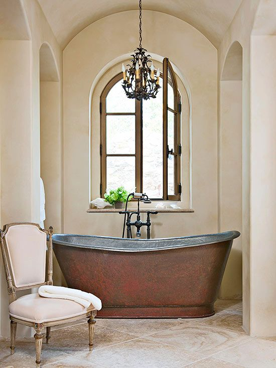 Freestanding tubs up the ante in any bathroom! http://www.bhg.com/bathroom/shower-bath/freestanding-traditional-bathtubs/?socsrc=bhgpin011515choosecopper&page=2