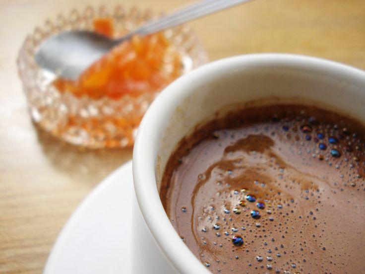 Greek coffee and homemade bergamot sweet (Greek traditional dessert)