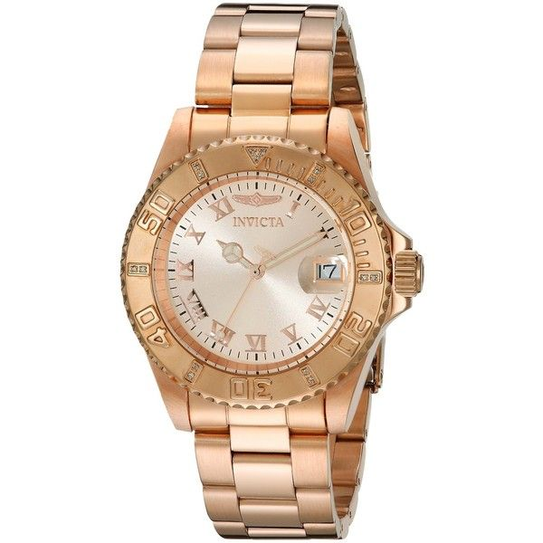 Invicta Men's 12821 Pro Diver Rose Dial Diamond Accented Watch ($88) ❤ liked on Polyvore featuring jewelry, watches, analog wrist watch, stainless steel bracelet, pink-face watches, analog watches and invicta wrist watch