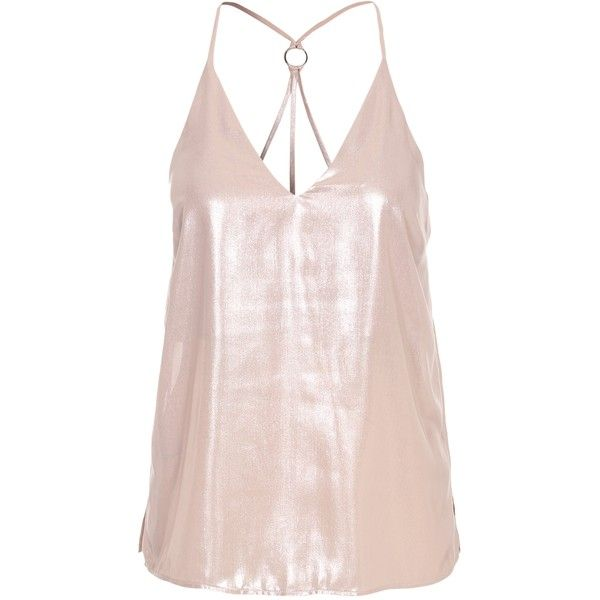 Strappy Metallic Cami Top ❤ liked on Polyvore featuring tops, spaghetti-strap tank tops, pink tank top, metallic top, camisole tops and strappy cami
