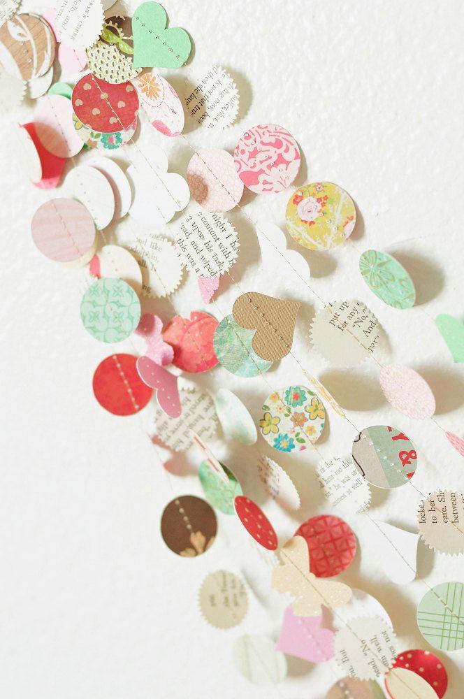 the New Vintage Love 30' Wedding Paper Garland, decor, nursery, party, shower. $35.00, via Etsy.