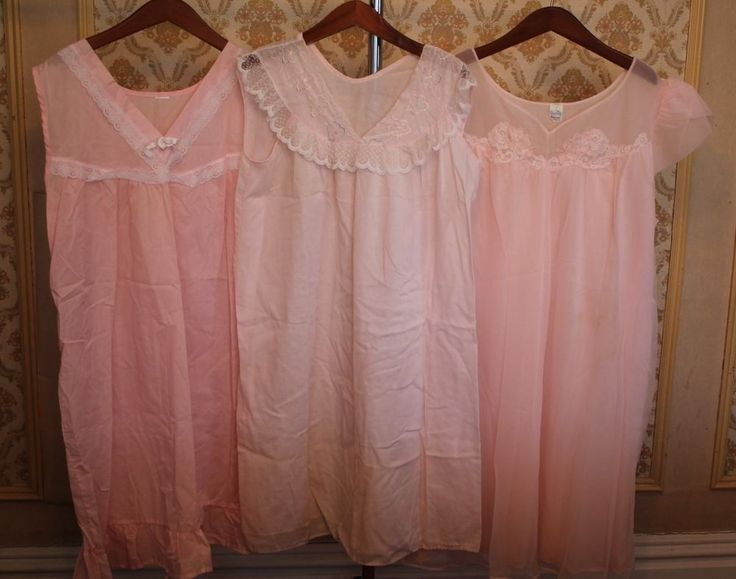 Lot of 3 Vintage 1950's-1960's Pink Long Night Gown Dresses Gently Used #PINK #Gown