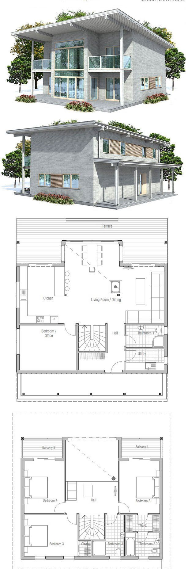 Small House Plan With Small Building Area. Small Home Design With Open  Planning. Floorplans