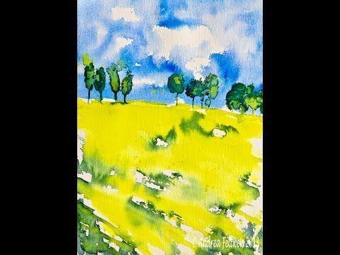 Aquarellmalerei Tutorial: Landschaft mit leuchtend gelbem Rapsfeld unter blauem Himmel - YouTube