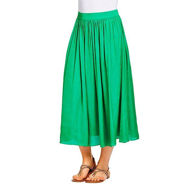 Satin Gathered Midi Skirt - Emerald