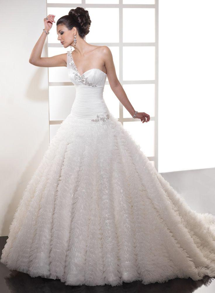 Elegant Awesome Ball Gown One Shoulder Chapel Train Wedding Dress