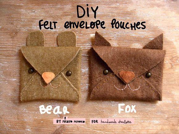DIY Felt envelope pouches