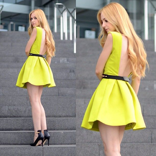 backless dress in neon yellow