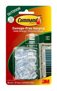 Command outdoor light clips.  Specially designed for the outdoors Use 1 clip for every 2 feet of lights Color: Clear Size: Small Package Contents: 16 clips, 20 strips Damage-Free hanging UV and water resistant Holds strongly from -20°F to 125°F Removes cleanly