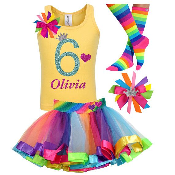 Rainbow Sparkle Number Birthday Number Tutu Outfit-Rainbow Birthday Tutu Set-Rainbow Birthday Party Outfit *Bow NOT Included*