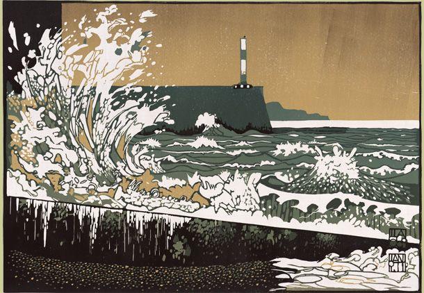 """Great Wave at Aberystwyth"", Ian Phillips - www.reliefprint.co.uk / www.linocutworkshops.co.uk"