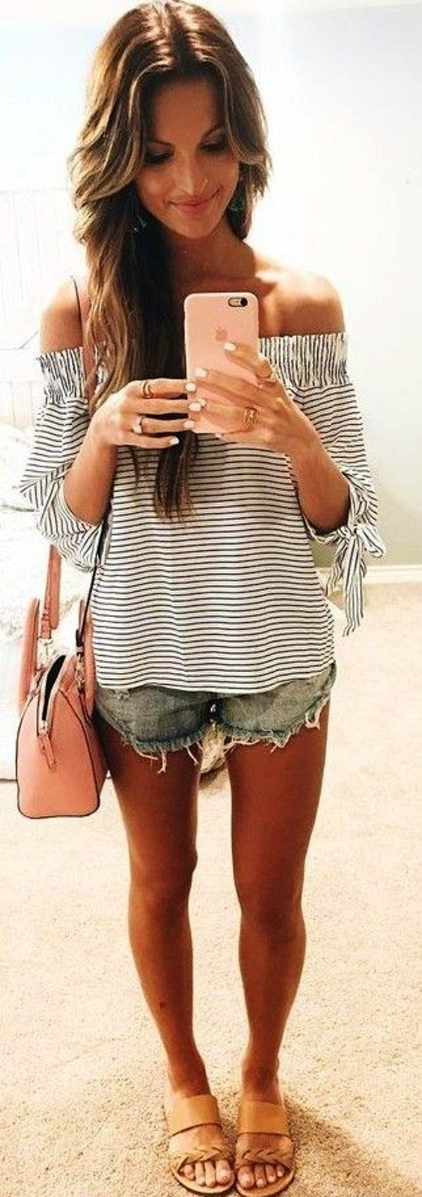 #summer #lovely #fashion | Striped Bardot Top   Cut Offs