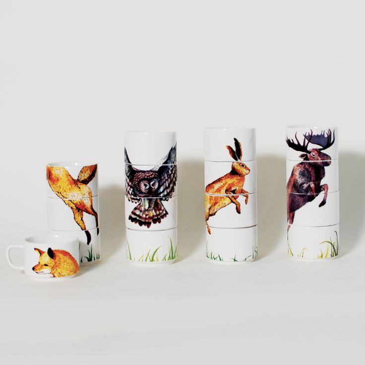 """These modern tabletop accessories reveal a bevy of woodland creatures when stacked and break up into pretty puzzle pieces for your sipping delight. Designer: Ange-line Tetrault & Miji Lee Material: Porcelain Dimensions: Fox - 4"""" x 3"""" x 8.25""""(6 oz.) Rabbit - 4"""" x 3"""" x 8.25""""(6 oz.) Moose - 4"""" x 3"""" x 8.25""""(6 oz.) Owl - 4"""" x 3"""" x 8.25""""(6 oz.) Please allow 1-3 weeks for shipping"""