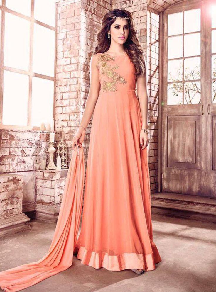 Peach Georgette Floor Length Anarkali Suit 87056