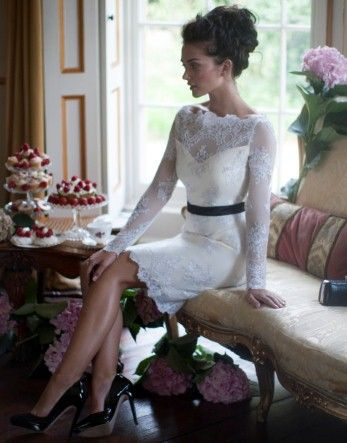 lace dress that would be perfect for a shower or the rehearsal dinner.